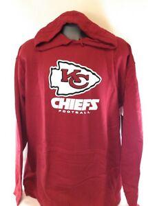 NEW Mens Majestic NFL Kansas City Chiefs Screen Print Football Pullover Hoodie