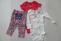 Carter's Baby Girls 3 Piece Outfit Size 9 Mo Butterfly Floral Bodysuits Leggings