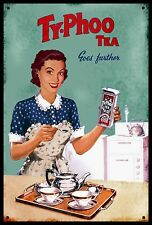 TyPhoo Tea Vintage  Style Enamel Painted Metal  Display Sign