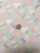 Ice Cream Ice Lollies Sky Blue 100% Cotton Quilting Craft Fabric