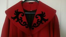 vintage 1920's style red wool shawl collar  coat 12 14