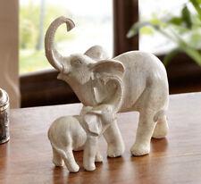 Deko Figur Elefantenmutter mit Kind, Tierfigur, Skulptur, Elefant