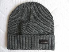 Medium GUESS Italy Grey Wool Cuff BEANIE Toque Tags Hat UNISEX Hat Mens A17