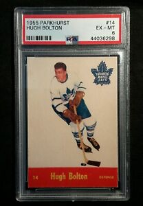 1955 55-56 Parkhurst Hugh Bolton (14) Toronto Maple Leafs PSA 6+++++ Hi-End