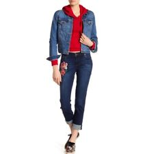 Kut From The Kloth Katy Boyfriend Crop Floral Embroidered Jeans Size 8 MSRP $89