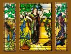 Antique American Figural Scenic Stained Glass triptych with a wonderful Peacock