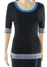 INC NEW Deep Black Womens Size Large L Marled-Trim Scoop Neck Sweater $69- 175