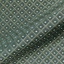 "Vintage British Forest Green Trellis Jacquard Upholstery Fabric - 54"""