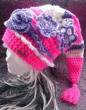 Zipfelmütze~neon-rosa/lila/weiß~ große  Troddel ~Blumenapplikationen~Gr. *50/52*