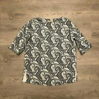 Etro Womens Black/White Paisley Abstract Top Shirt 3/4 Sleeve Size 42 Italy Made