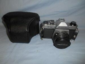 Asahi Pentax K1000 35mm SLR Film Camera w/SMC Pentax-M 1:2 50mm Lens & Case