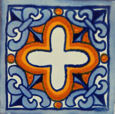 "One Handmade Mexican Tile Sample Talavera Clay 4"" x 4"" Tile C121"
