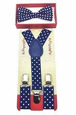 Simple & Elegant Suspender and Bow Tie Set for Boys Girls Children Royal Blue PD