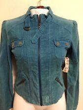 O'neill Corduroy Teal Blue Tailored Cropped Jacket Front Zipper, Junior Medium