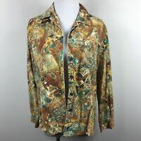 Chicos Size 1 Button Up Shirt Jacket Multicolor Paisley Corduroy 100% Cotton