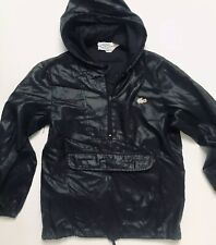 1980's Vintage Lacoste Izod Nylon Hooded Pullover Windbreaker Black XS Small