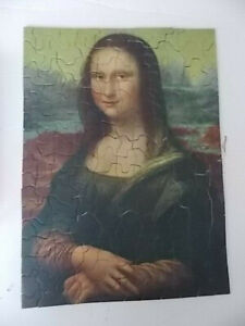 Vintage 1930s Tuco Art Picture Puzzle Mona Lisa Painting Thick Pcs w/ Box