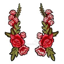 2x Embroidery Red Rose Flower Sew Iron On Patch Cloth Floral Collar Applique