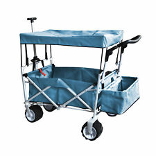 BLUE OUTDOOR FOLDING WAGON CANOPY GARDEN STROLLER TRAVEL CART ALL TERRAIN WHEEL