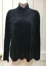 Vintage 90s Gap Black Crushed Velvet Polo Neck Long Sleeved Top Large