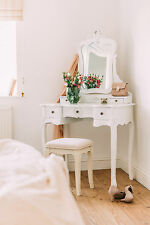 French Style Vanity White Dressing Table Makeup Desk with Mirror and Stool Set