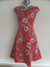 Dorothy Perkins talla 18 Rojo Blanco Negro Jersey Stretchy Floral Sin Mangas Vestido