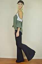 S M L Black Flare Leg Pants Womens Stretch Knit Yoga Lounge Bell Bottoms Long