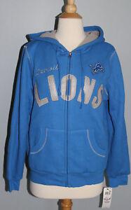 NEW Women's DETROIT LIONS Zip-Up Hoodie Sizes S M L Fleece Lined Sweatshirt