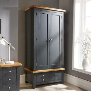 Modern Blue Solid Wood 2 Door Double Wardrobe With 2 Shelves Bedroom Storage