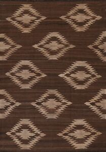 Geometric Kilim South-Western Oriental Area Rug Hand-Woven Wool Brown Carpet 5x7