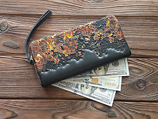 Fine Genuine Leather Women Wallet Black Wristlet Purse Hand Tooled Money Clips