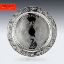 ANTIQUE 19thC CHINESE SOLID SILVER SALVER TRAY, CUM WO, HONG KONG c.1890