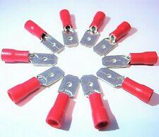 10x Kabelschuhe 6,3mm rot Flachsteckhülsen 22-16 für 0,5-1,5mm Aderendhülsen