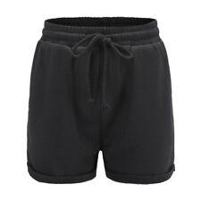 Women Holiday High Waist Plain Elastic Waist Sport Summer Beach Hot Pants Shorts