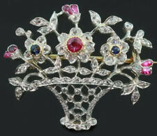 Victorian Look 925 Silver Brooch Pin 4.25cts Rose Cut Diamond Ruby Sapphire