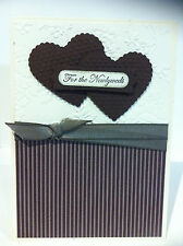Handmade Wedding card with embossing and bow. Coffee brown and cream colours.