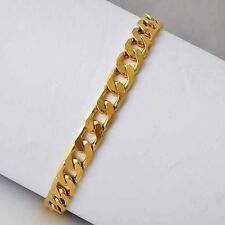 "9ct 9k Yellow ""Gold Filled"" Men Ladies Curb link Chain Bangle Bracelet . 8.7"""