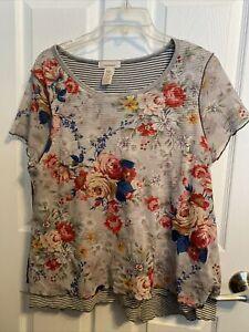 Sundance Floral/stripe short Sleeve Top Women's Size L