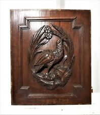 Farmhouse bird hunting panel Antique french carved wood architectural salvage