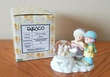 Enesco Precious Moments Boy/Girl Singing With Bunnies Waterball (1999)
