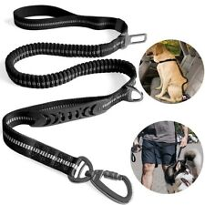 4-6ft Adjustable Dog Leash Nylon Reflective Bungee Dual-Handle Car SeatBelt Lead