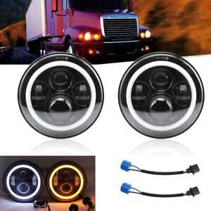 2x 7inch Round Black Halo Led Headlight Hi-Lo Beam 200W For Freightliner Century