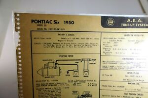 Pontiac Six 1950 Model 25  AEA Tune-up System Chart Sheet