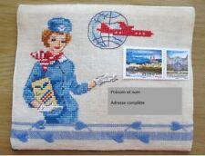 """Enveloppe brodée """"Hôtesse de l'air"""", prête à l'envoi et personnalisable"""