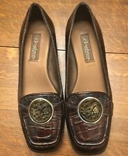 Brighton Shoes Camile Loafer Patent Brown Moc Croc Floral Broach NWOB 6.5 M