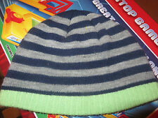 grey and navy wooly winter  hat boys boy aged 4-5 years