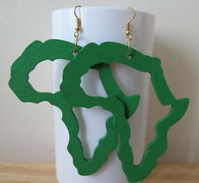 Green Africa Map outline Earrings made with light wood  - handmade unique new
