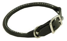 "Auburn Leather - Rolled Round Dog Collar - 10""-12"" - Black"