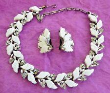 1950's Vintage LISNER Choker Necklace Earrings Set White Milk Glass Rhinestones