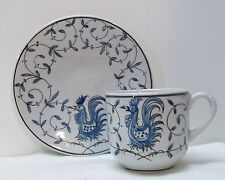 Rooster Teacup and Saucer Blue and White Porcelain Outeiro Agueda Portugal